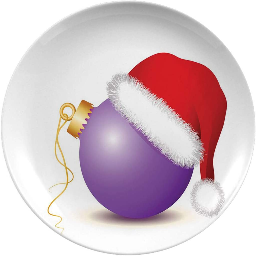 Christmas Art Ceramic Dinner Plates,Purple Christmas Baubles With Santa,dinner Plates Set Plate For Home And Kitchen,dinner Dishes,8 Inch