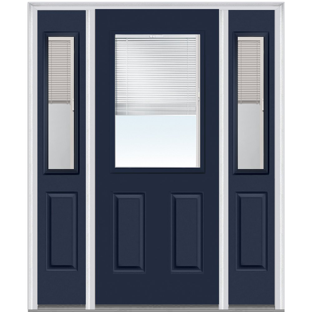 National Door Company Z010168R Steel Naval, Right Hand In-swing, Prehung Door, 1/2 Lite 2-Panel, Clear Glass with RLB, 36'' x 80'' with 14'' Sidelites