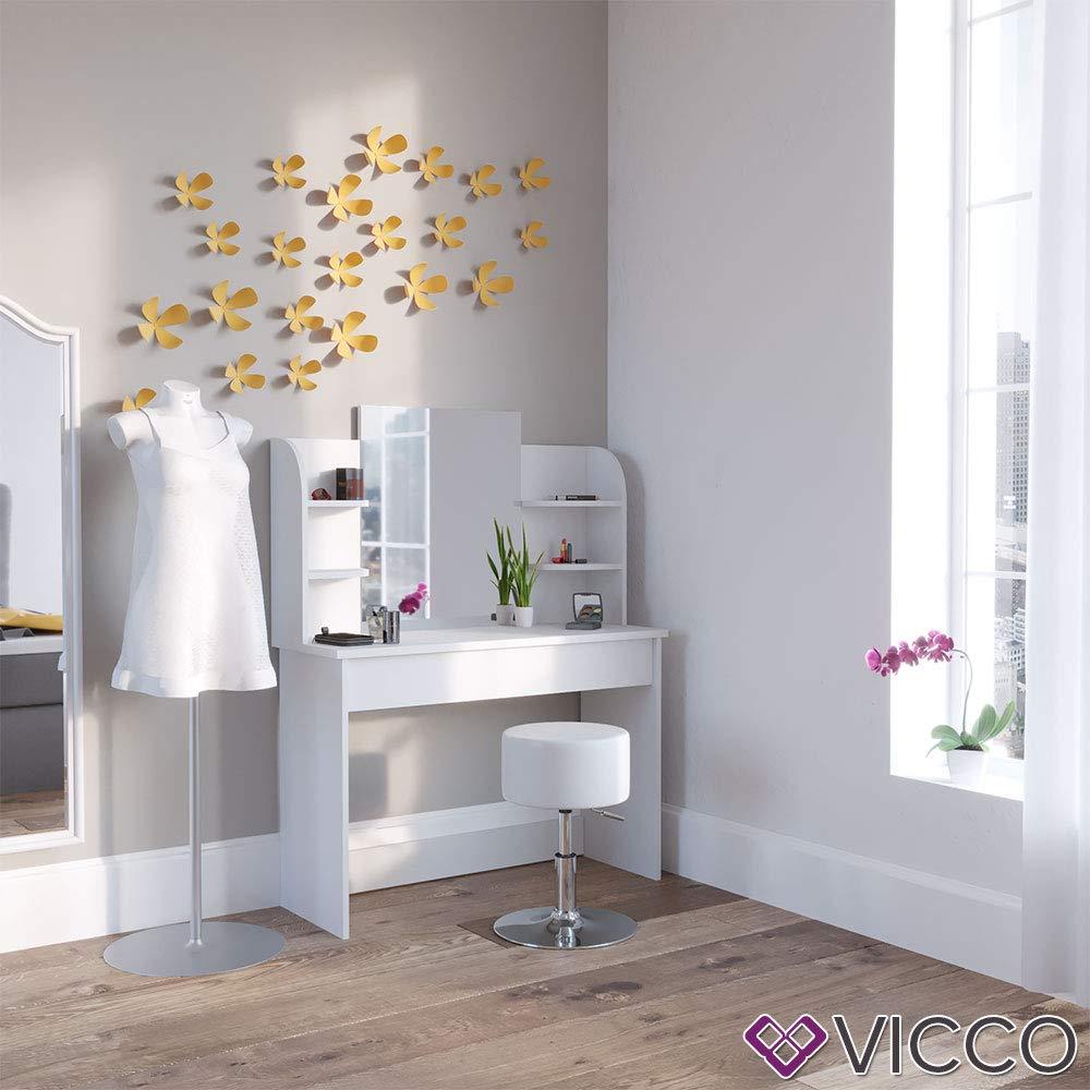 + Vicco Schminktisch Charlotte 142 x 108 cm Wei/ß oder Schwarz ++ Frisiertisch Kommode Spiegel Schwarz Schminkkommode mit Schubfach und Regalsystem