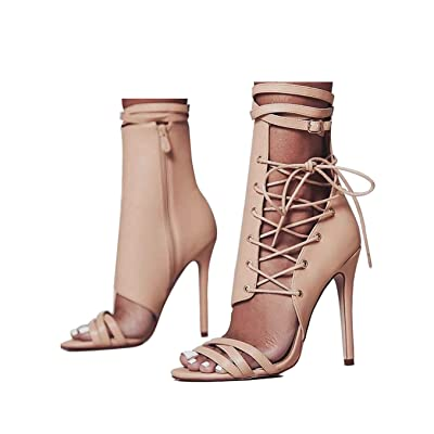 azmodo Women Shoes Sexy Gladiator Lace up Peep Toe Women Sandals High Heels | Heeled Sandals