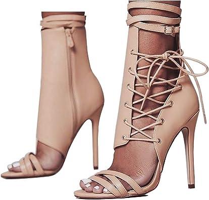 Summer Gladiator High Heels Peep Toe Sandals Casual Women Shoes Black