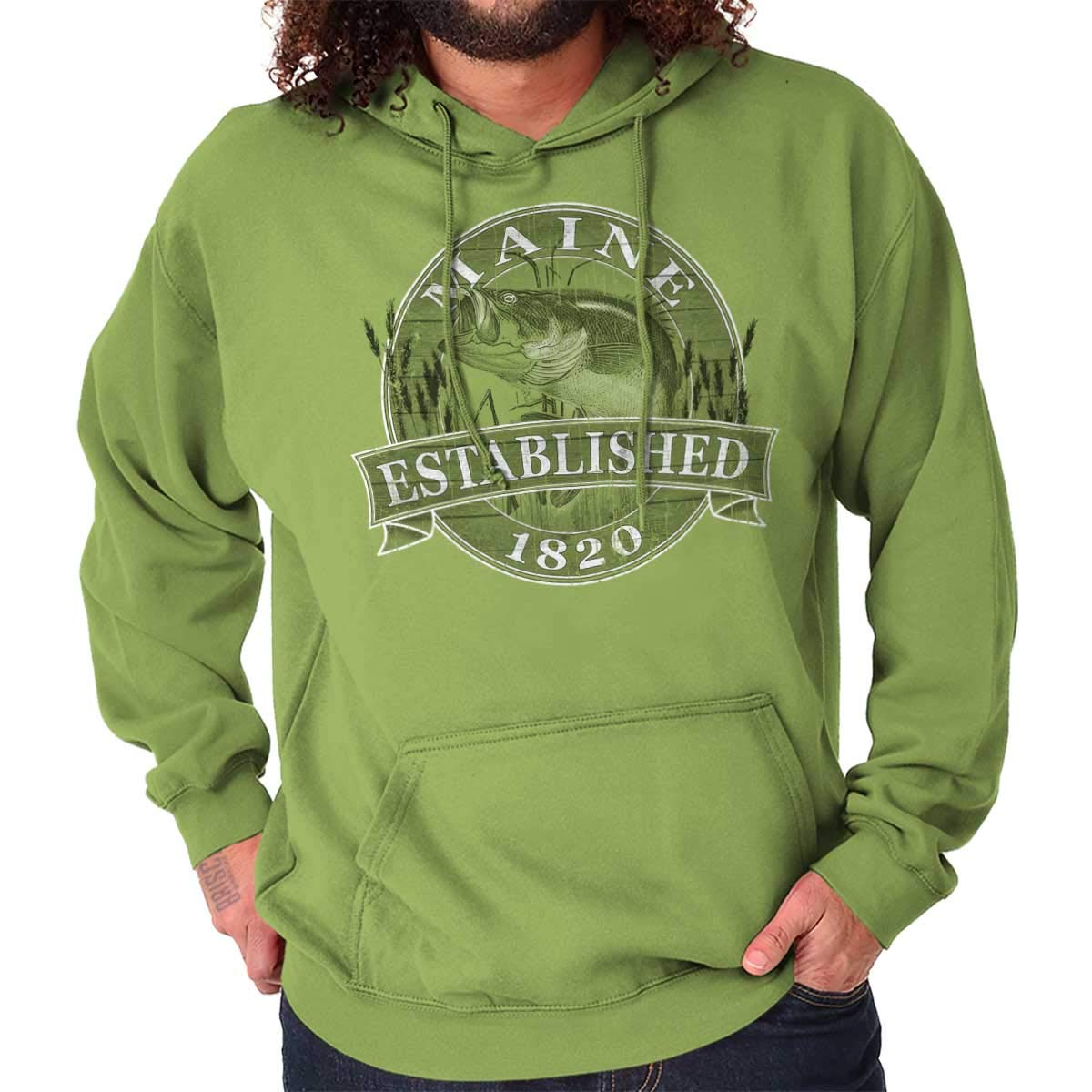 Maine State The Pine Tree State Bass Fishing Gift Ideas Cool Fleece Hoodie