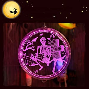 WIOR 3D Skull Halloween Hanging Lights, Purple Ghost Halloween Lights Decorations with Disk, LED Halloween Lights Indoor Outdoor Decor for Home Window Wall Door Christmas Holiday Party