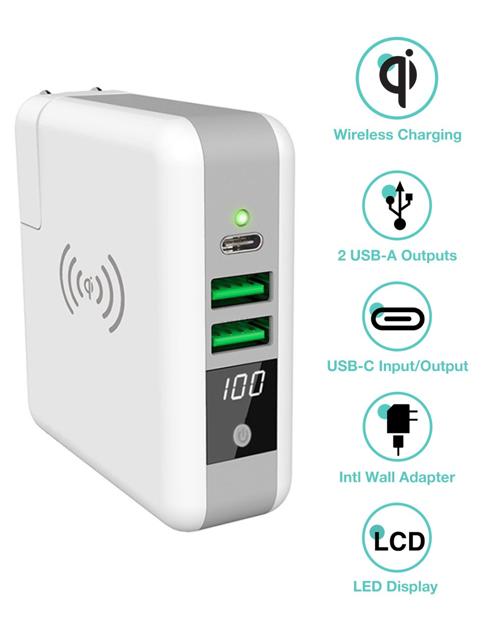 All-in-1 Universal Travel Adapter, Wireless Charger & 6700mAh Power Bank, with wall plug, Dual Usb ports,Type-C port In, International adapter for iPhone, Samsung, iPad, Tablet, Smartphone, Camera and so on. Dual Usb ports, Type-C port In Solarbox