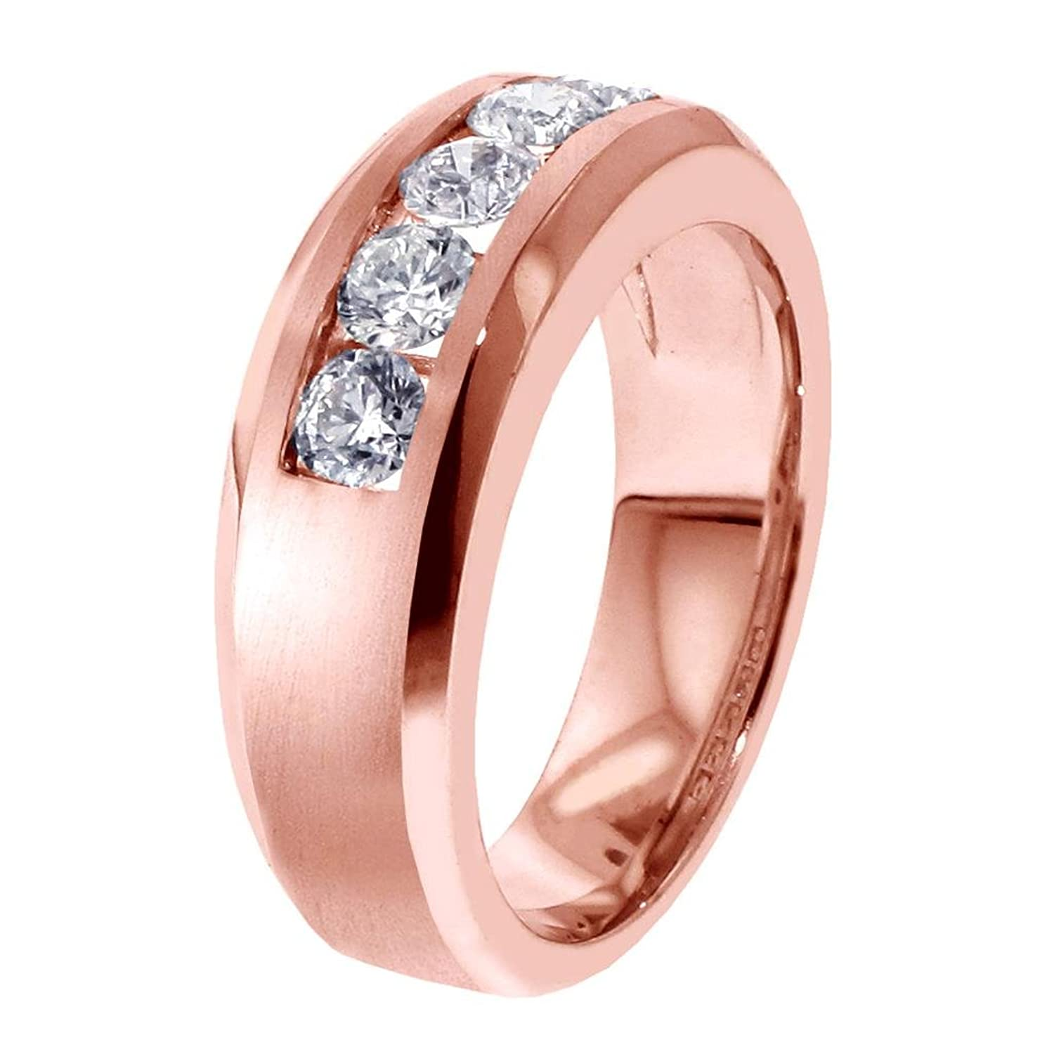 1.00 CT TW 5-Stone Channel Set Diamond Mens Wedding Ring in 14k Rose ...