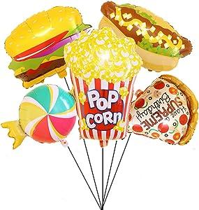 Food Mylar Balloon Hamburger Hot Dog Pizza Popcorn Candy Foil Balloon for Birthday Party Movie Night Decor Pack of 5