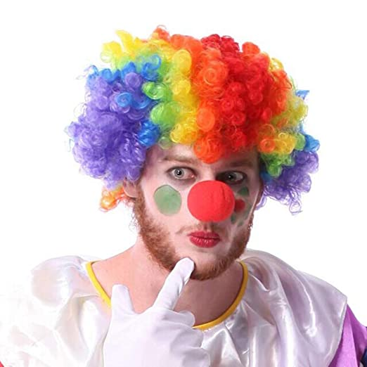 Amazon.com  1 Set Rainbow Clown Wig and Red Clown Nose Party ... 6504e3d59