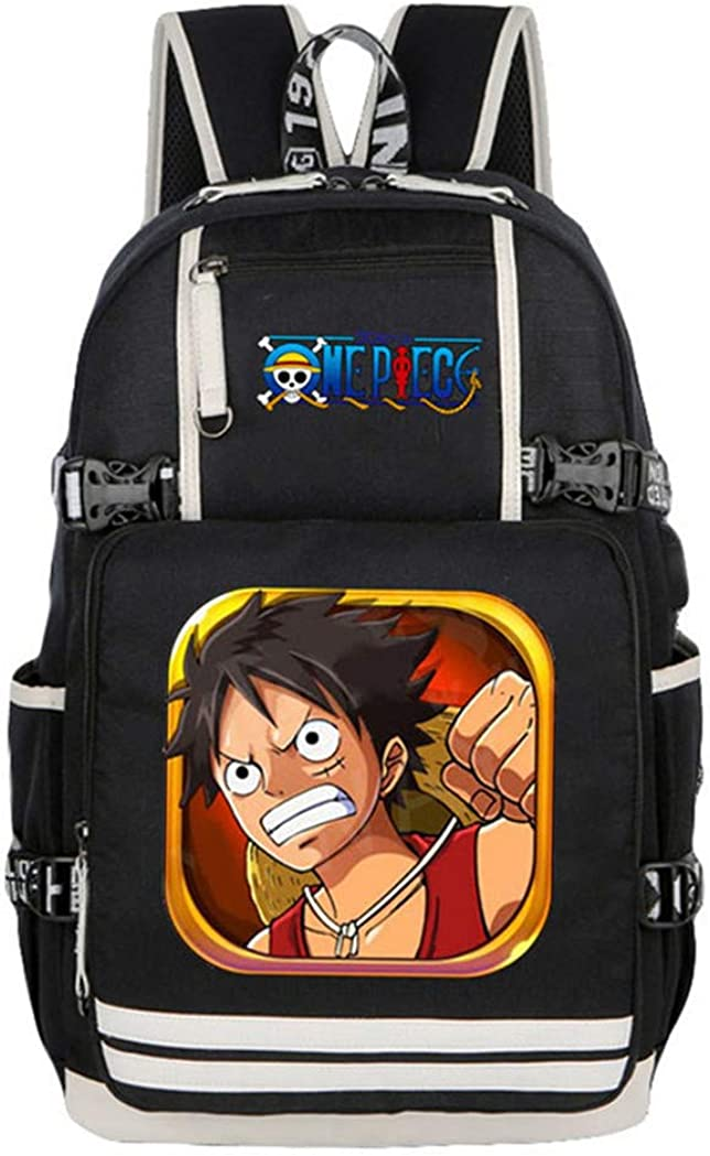 Gumstyle One Piece Anime Backpack with USB Charging Port Laptop Shoulder School Bag