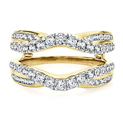 Amazon Com 14k Yellow Gold Plated Solitaire Simulated Diamond