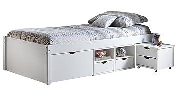 Inter Link Alpine Living Bett Funktionsbett Einzebett Stauraumbett Bett mit  Schubladen Echt Holz Bio Weiss lackiert