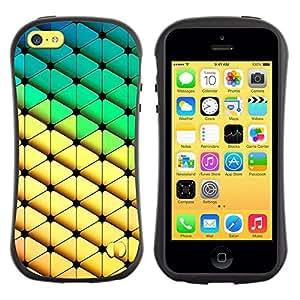 LASTONE PHONE CASE / Suave Silicona Caso Carcasa de Caucho Funda para Apple Iphone 5C / Diamond Polygon Pattern Yellow Green