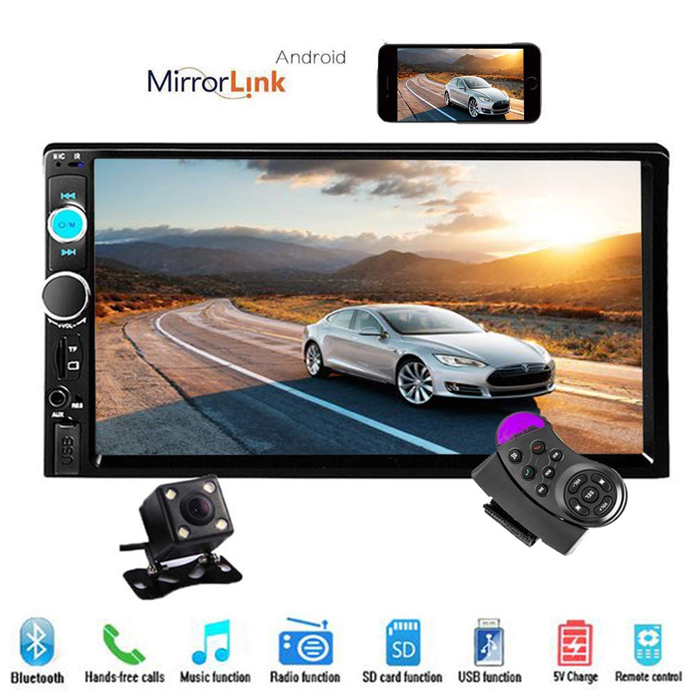 Hikity 7'' Double Din Car Stereo Audio Bluetooth MP5 Player USB FM Car Multimedia Radio Support Android Phone Mirror Link + Rearview Camera & Car Steering Wheel Remote