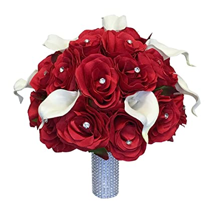 Amazoncom Wedding Bouquet Red Silk Roses Natural White Real