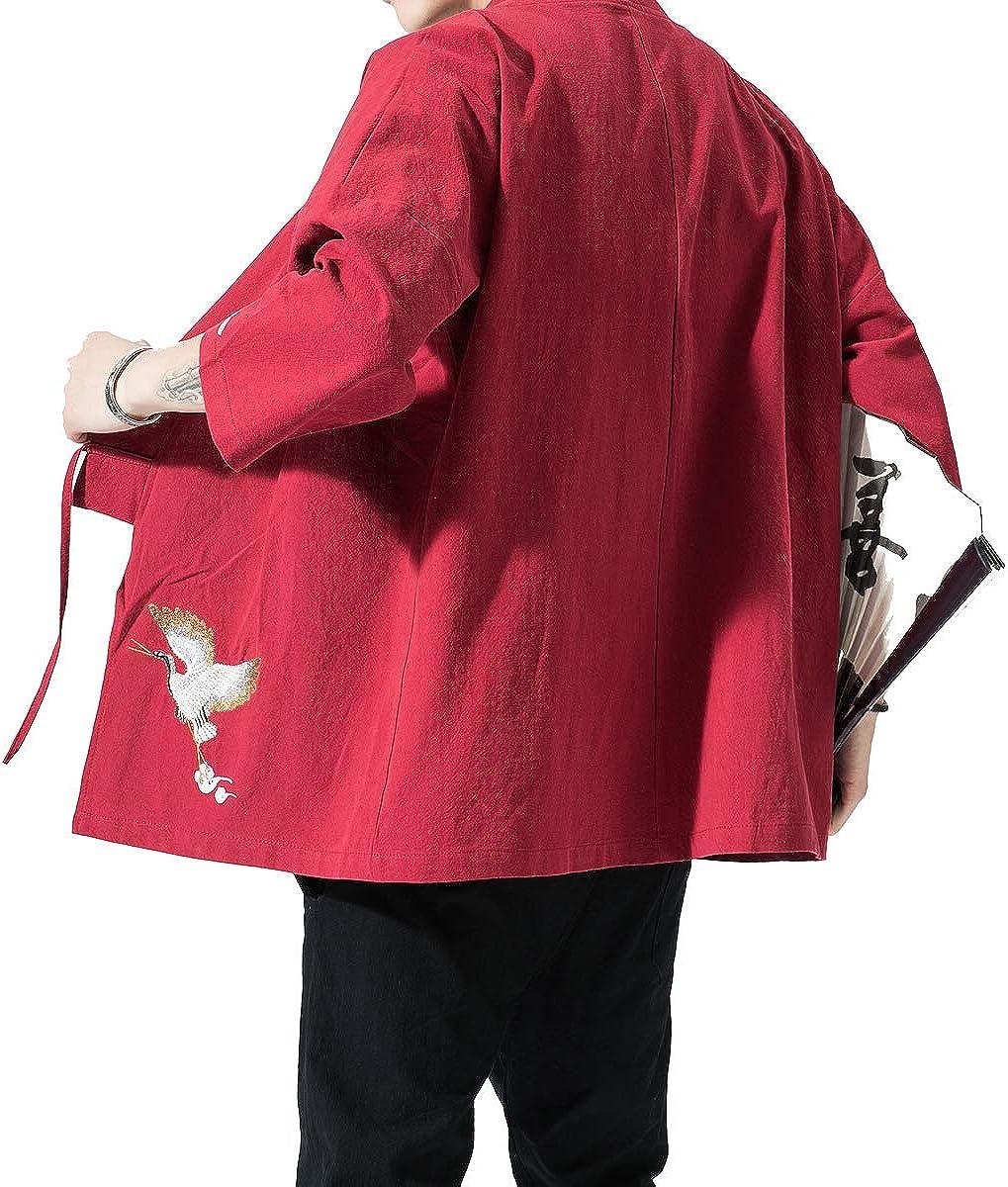PRIJOUHE Mens Japanese Fashion Kimono Cardigan Plus Size Jacket Yukata Casual Cotton Linen Seven Sleeve Lightweight
