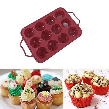 YUX Silicone Pan 37 * 22.8 * 4cm, 12 Molde para muffins antiadherente de 12 cavidades en rojo, Bandeja para moldes de cupcakes apta para microondas y ...
