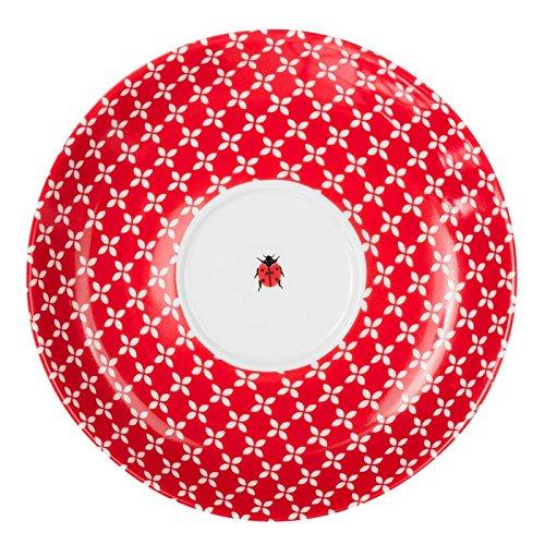 Feinkost Käfer GmbH 104911 Geschirr, Porzellan, Weiß/Rot, 17 x 17 x 2.5 cm, 1 Einheit