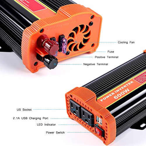 soyond 600W Car Power Inverter Converter DC 12V to 110V/120V AC with 2.1A Dual USB Car Charger Adapter by soyond (Image #2)