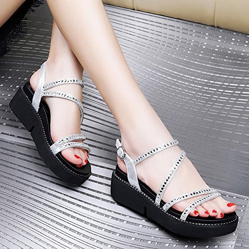 Negro Estudiante Del Plata Muchacha Para Haizhen Zapatos 5 Planas Tamaño Mujer La Manera Casuales De Mujeres uk3 Sandalias Eu36 color cn35 Verano wgxfq0ZxX
