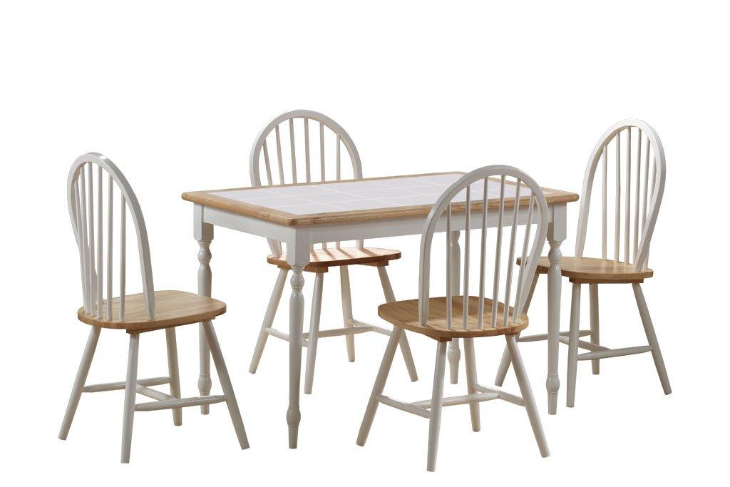 Charming Amazon.com   Boraam 80130 Tile Top 5 Piece Dining Set, White/Natural   Table  U0026 Chair Sets