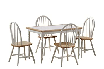 Amazon.com - Boraam 80130 Tile Top 5-Piece Dining Set, White ...