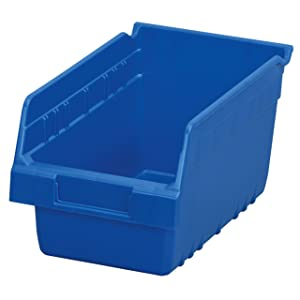 Akro-Mils 30090 ShelfMax Plastic Nesting Shelf Bin Box, 12-Inch Length x 6-Inch Width x 6-Inch Height, Case of 10, Blue