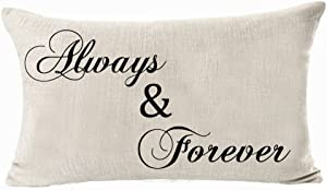 Queen's designer Best Gifts for Family Always & Forever Cotton Linen Home Office Decorative Throw Waist Lumbar Pillow Case Cushion Cover Rectangle 12 X 20 Inches(No.5)