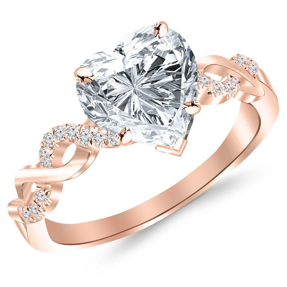 0.63 Cttw 14K Rose Gold Heart Cut Twisting Infinity Gold and Diamond Split Shank Pave Set Diamond Engagement Ring with a 0.5 Carat H-I Color SI2-I1 Clarity Center