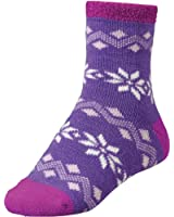 Yaktrax Women's Cozy Flakes Cabin Socks Purple Cream