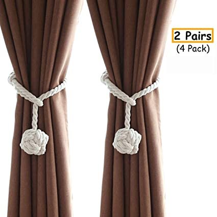 Ailzos 4 Pack Hand Knitting Curtain Rope Buckle Curtain Tiebacks With Single Ball Indoor Curtain Tie Backs Rope Buckle Window Curtain Holdbacks For