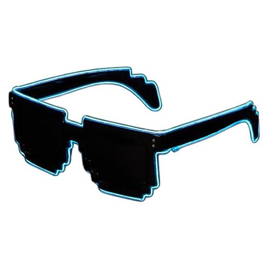 Amazon.com: Raveanomics El Wire Aqua Blue LED Sunglasses - 8-Bit ...