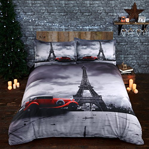 Beddinginn 4 Pieces 100% Cotton Bedding Sets Magnificent Eiffel Tower Retro Car Digital Printing Duvet Cover Sets(Queen Size,Gray)