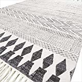 EYES OF INDIA - 4 X 6 ft WHITE BLACK COTTON PRINTED AREA ACCENT DHURRIE RUG FLAT WEAVE WOVEN