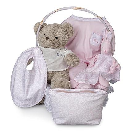Canastilla regalo bebé Vintage Esencial BebeDeParis-Rosa-cesta ...