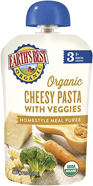 Earth's Best Organic Stage 3 Baby Food, Cheesy Pasta with Veggies, 3.5 Oz Pouch (Pack of 6)