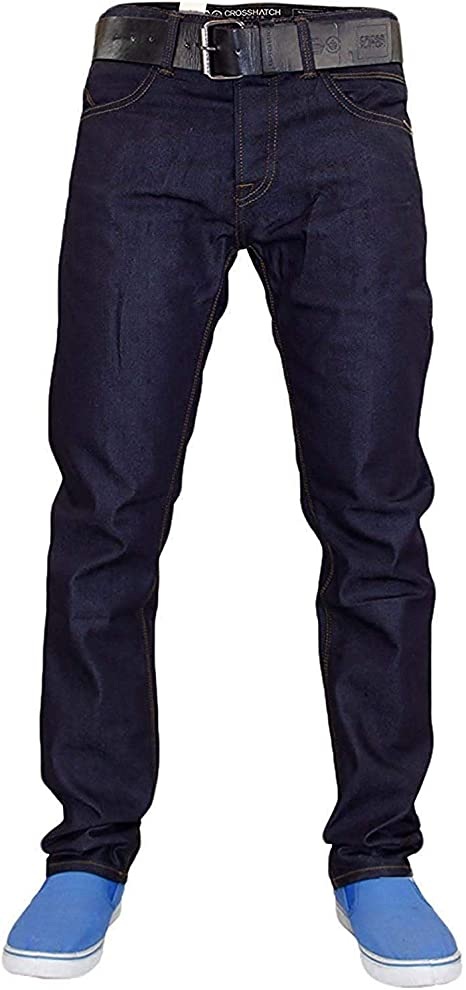 TALLA 48W / 30L. Hombres Crosshatch Wayne vaquero Denim Slim Fit