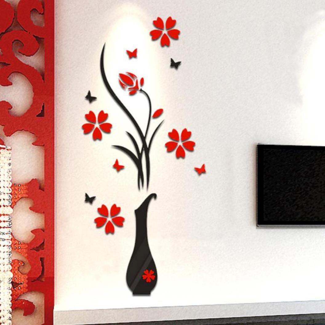 Beautyjourney Deco Stickers Muraux,Diy Vase Fleur Arbre Crystal Arcylic 3D Stickers Wall Sticker D/éCoration Noir