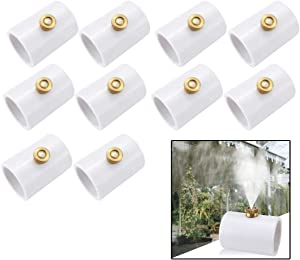 10 Pcs Misters for Outside Patio, PVC Splitter with Brass, 1/2 Inch PVC Fittings Pipe, Mist Nozzle Cooling System Tool for Patios Garden (White)