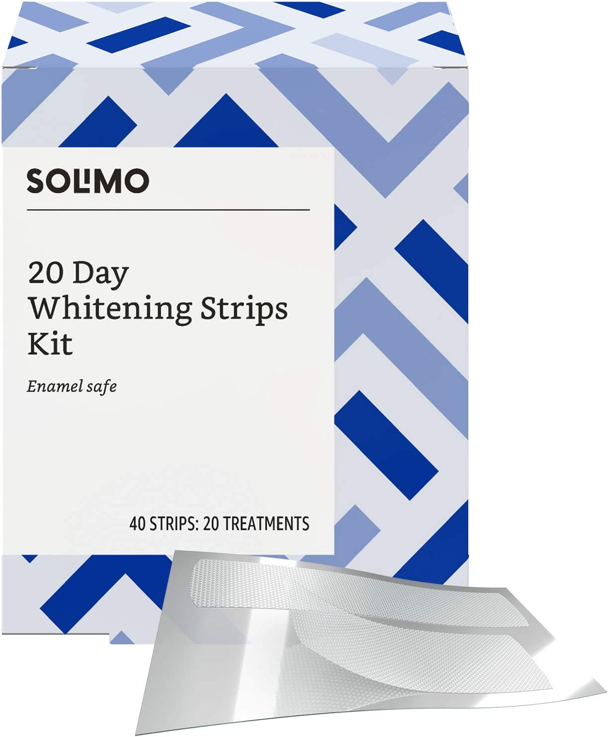 Amazon Brand - Solimo 20 Day Teeth Whitening Strips Kit, 20 Treatments