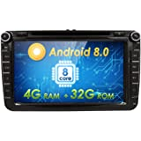 hizpo 8 Inch Octa-Core Android 8.0 Car Radio Double Din Stereo for VW Volkswagen Golf Passat Polo Jetta Tiguan Scirocco Skoda Seat with DVD Player Multimedia System Support GPS Navigation USB SD SWC