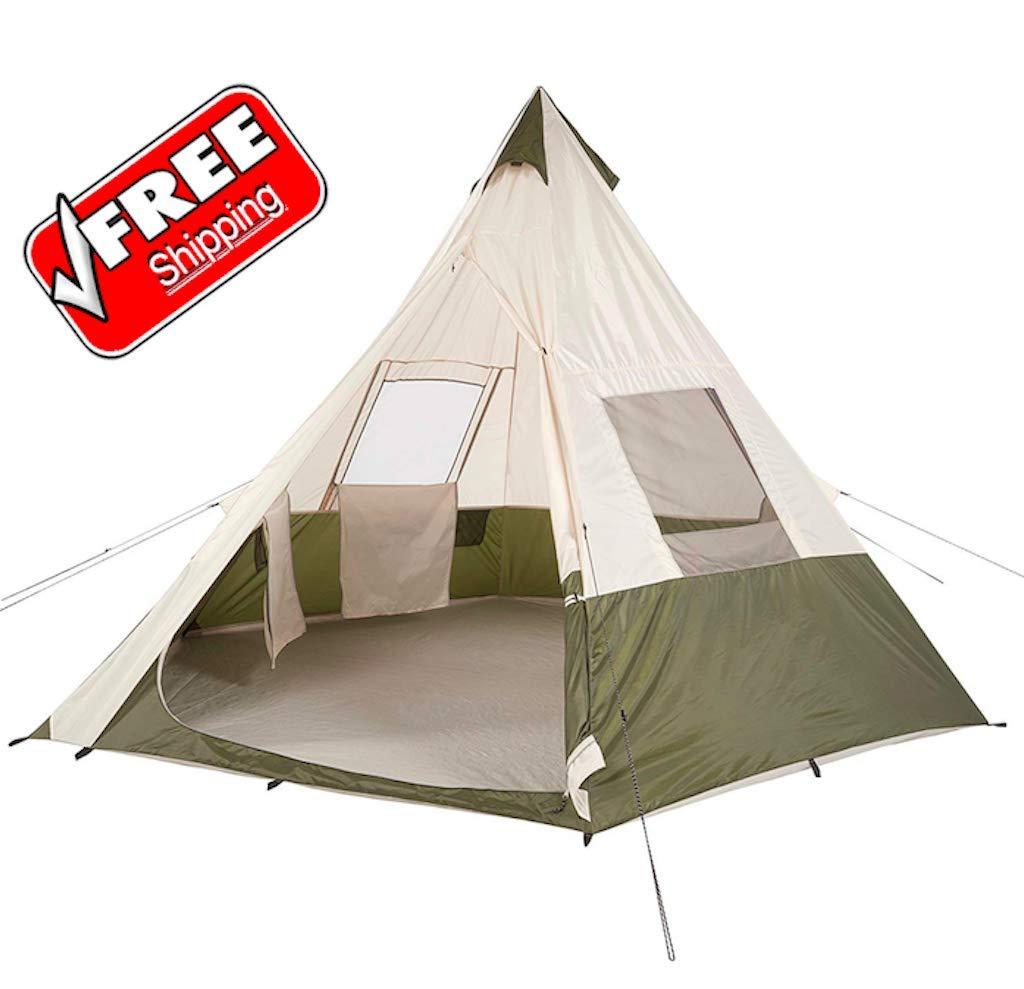 GSV Store 7人用 ティピーキャンプテント アウトドアキャンプ ハイキング 家族 睡眠   B07S1PQB8R