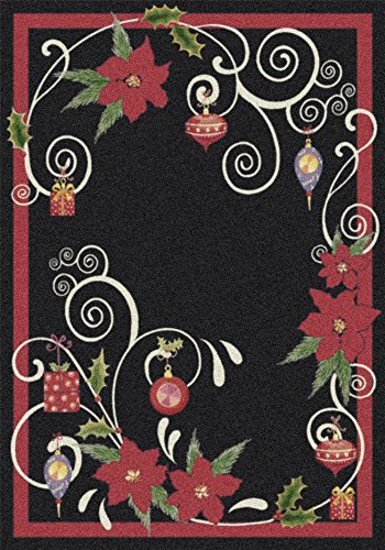 (Milliken Holiday Collection Poinsettia Scroll Area Rug 5'4