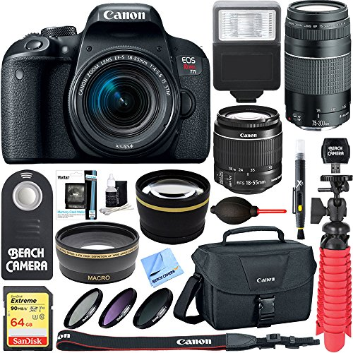 Canon EOS Rebel T7i DSLR Camera (1894C002) + 18-55mm IS STM & 75-300mm III Lens Kit + Accessory Bundle 64GB SDXC Memory + DSLR Photo Bag + Wide Angle Lens + 2x Telephoto Lens +Flash+Remote+Tripod by Beach Camera