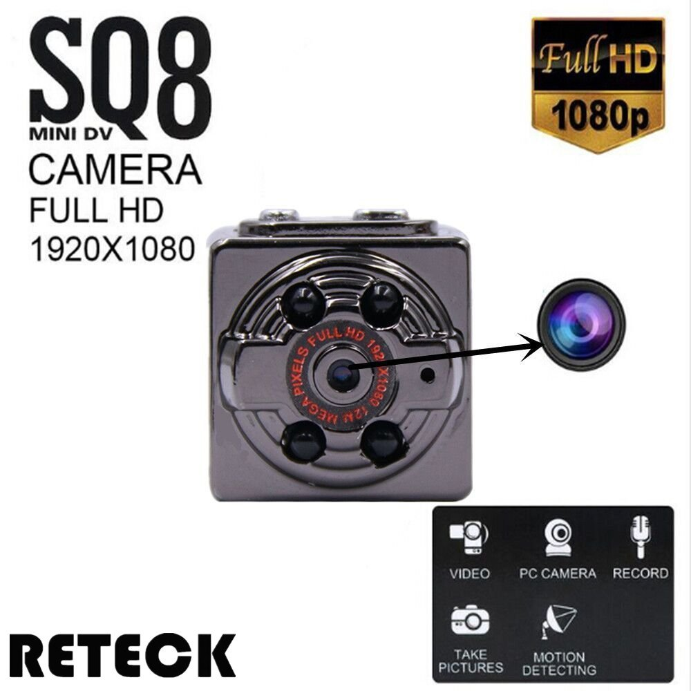 Reteck Sq8 Mini Dv Camera 1080p Full Hd Car Dvr Body The Circuit Aims To Create A Recording Scheme Not Only For Spying But Motion Detection Night Vision Nanny Video Recorder Camcorder Home Security