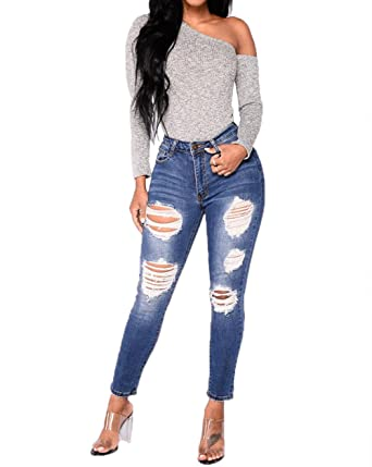 JJ-GOGO Distressed Ripped Skinny Jeans - Womens High Waisted Stretchy Destroyed  Jeans Cute Denim 7a066eed19