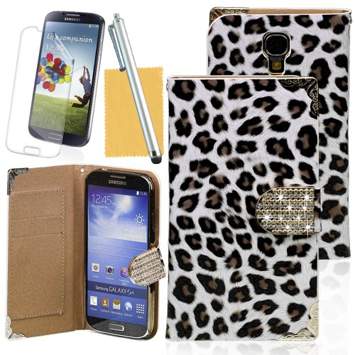 OMIU(TM) Gorgeous Unique Leopard Print Wallet Leather Case Slim Fit for Samsung Galaxy S4 i9500(White),With Credit Cards Slots,Screen Protector,Stylus and Cleaning Cloth