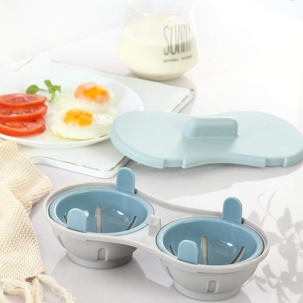 SODIAL Microwave Egg Poacher Cookware Double Cup Dual Cave High Capacity Design Egg Cooker Ultimate Collection Egg Poaching Cups Microwave Steamer Kitchen Gadget