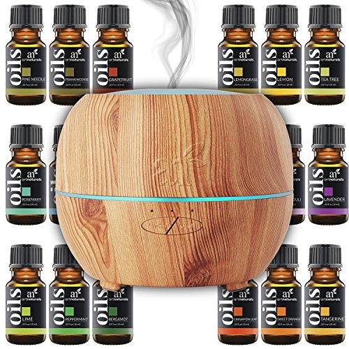 Art-Naturals-Essential-Oil-Diffuser-100ml-Top-16-Essential-Oil-Set-Peppermint-Tee-Tree-Rosemary-Orange-Lemongrass-Lavender-Eucalyptus-Frankincense-Auto-Shut-off-and-7-Color-LED-Lights