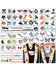 424f580b8 Temporary Tattoos for Kids - 72 Tattoos on 36 Sheets Great for Party Favors  and Decorations