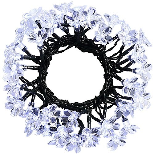 easydecor solar string lights 50 led 23ft 8 modes blossom flower garden christmas lights for outdoor indoor party wedding patio holiday decorations multi