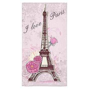 interestprint Torre Eiffel me encanta París francés estilo rosa rosa flor toallas de baño Set de ...